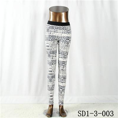 Women with  Pocket Fashion Sexy Woven Printing High-waist Slimming  Leggings