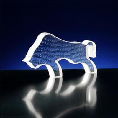 Water Cutting Crystal Glass Bull Statue