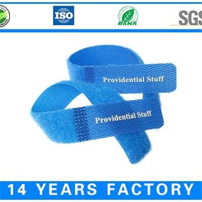 Hook And Loop Cable Ties 100% Nylon Printed Logo Customized