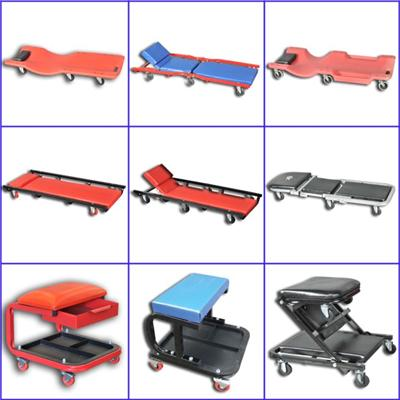 Steel Car Creeper Seat With Casters Tool Tray Drawer