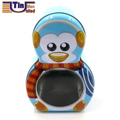 Penguin Shape Christmas Gift Tin Box With A PET Window