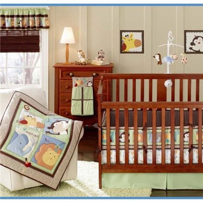 Cheap China Embroidery Monkey Baby Boy Crib Bedding Set