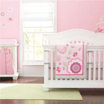 Hapy Bird Infant Baby Girl Crib Cot Bedding Set With Diaper Stacker