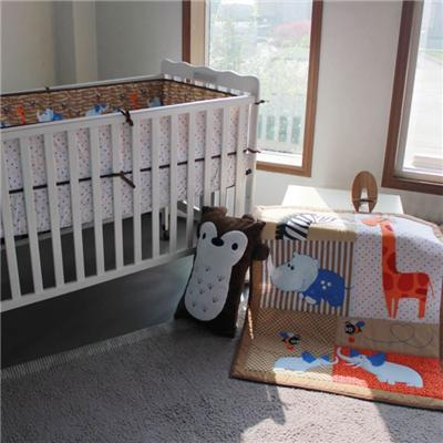 Unisex Baby Crib Bedding Set Bed Sheet Set Giraffe And Horse Animal Zoo Designs
