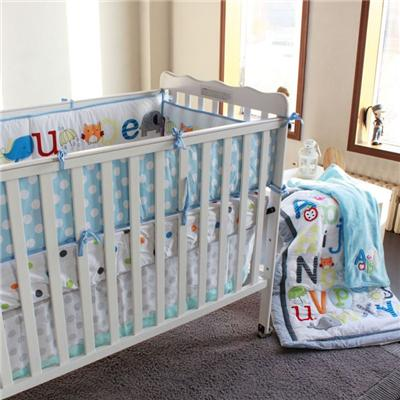 Animals Collection And ABC Alphabet Letters Baby Crib Bedding Quilt Set