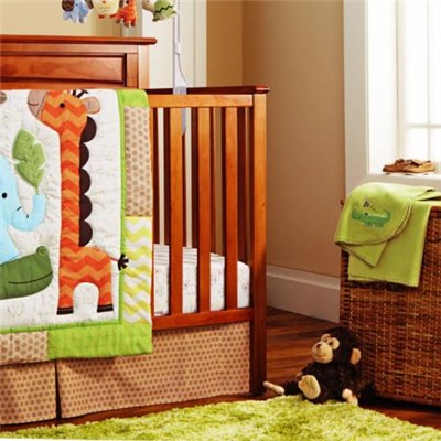 Customized Neutral Infant 9 PcsGiraffe Elephant Jungle Collection Crib Bedding Set