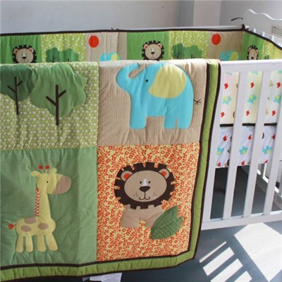 Colorful Print Greenland Lion Giraffe Elephant Animals Baby Crib Nursery Bedding Set
