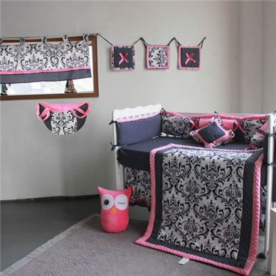 Popular Black Flower Design Baby Bedding Crib Set 4-14pcs With Different Accessory Selection