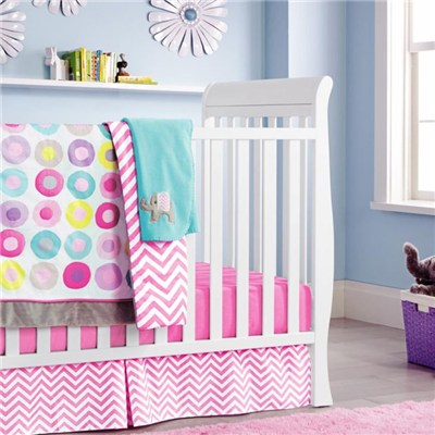 Colorful Circle Dots 5pcs Crib Bedding Set For Baby Gift From Professional Manufacturer