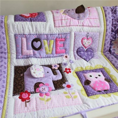 Purple Elephant Cartoon Baby Patchwork Quilt