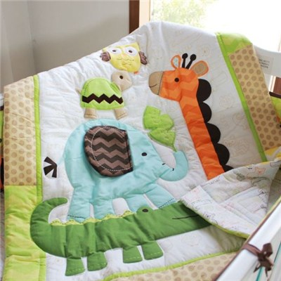 Animal Jungle Collection Embroidery Applique Baby Quilt
