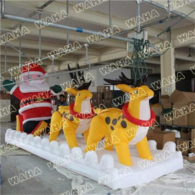 Customized Inflatable Santa With Sleigh And Reindeer For Outdoor Christmas Decoration With Led Ligh