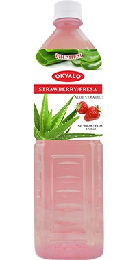 Okyalo 1.5L aloe soft drink with strawberry flavor