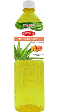 Okyalo 1.5L aloe soft drink with peach flavor