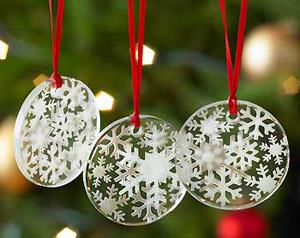 Snowflakes Engraving Etched Glass Christmas Tree Ornaments