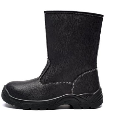 Long Cut Black Leather Industrial Safety Boots