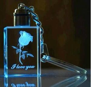 Led Light 3D Laser Engraving Crystal Keychain With Rose