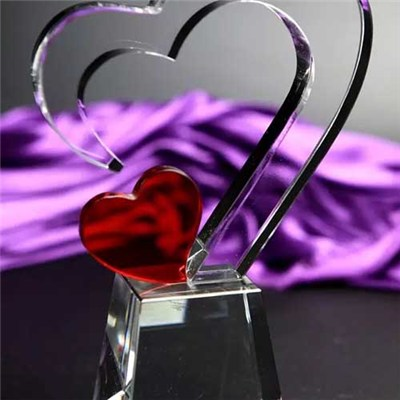 Beautiful Gifts Double Heart Crystal Award