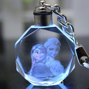 LED Frozen Crystal Cartoon Keychain Sets Elsa Anna Olaf