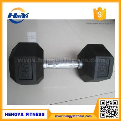 Wholesale Professional Stainless Steel Hex Rubber Coated Dumbbell Set