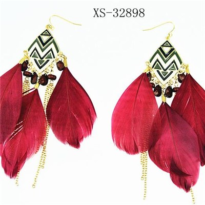 2016 hot selling antique fur earring with long metal chains tassel