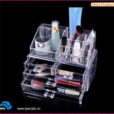 PS Plastic Clear Meduium Jewelry And Cosmetic Organizer With 4 Drawer
