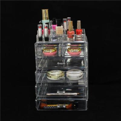 Factory 6 Drawer Crystal Clear Cosmetic Display Stand With Top Section,Large Acrylic Cosmetic Makeup Storage Box Wholesale