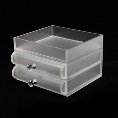 Frosted Acrylic Desktop Medium Size Cosmetic Organizer With 2 Drawers And Top Holder
