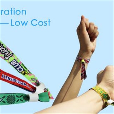 Beautiful festive woven wristband/tape, with closure clip, theme party band, conference band