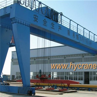 10T Double Girder Semi Gantry Crane, Full Use of Spaces with Low Cost and Compact Structure
