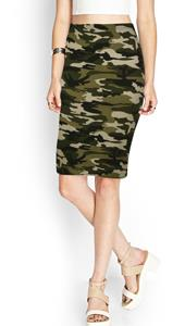 Summer Classic Stylish High Quality Military Camouflage Skirts High Waist Casual Skinny Women Knee Length Pencil Skirt