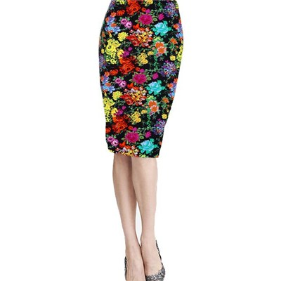 Women Unbelievable Fashion Print Skirts Skinny High Waist Colorful Rose Blossomy Package Knee-length Elastic Hip Skirt