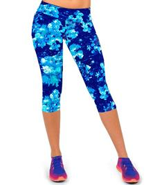 Hot New Women's Fashion High Waist Printed Blue Floral Workout Fitness Elastic Capri Leggings