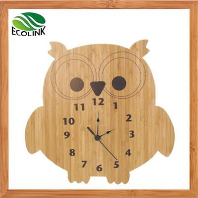Cartoon Bamboo Wall Clock Owl Pig Bear Reindeer
