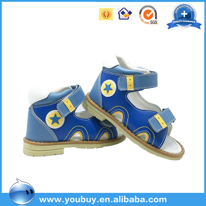 Blue leather medical orthopedic safety shoes for kids fancy pictures of boys fashion shoes
