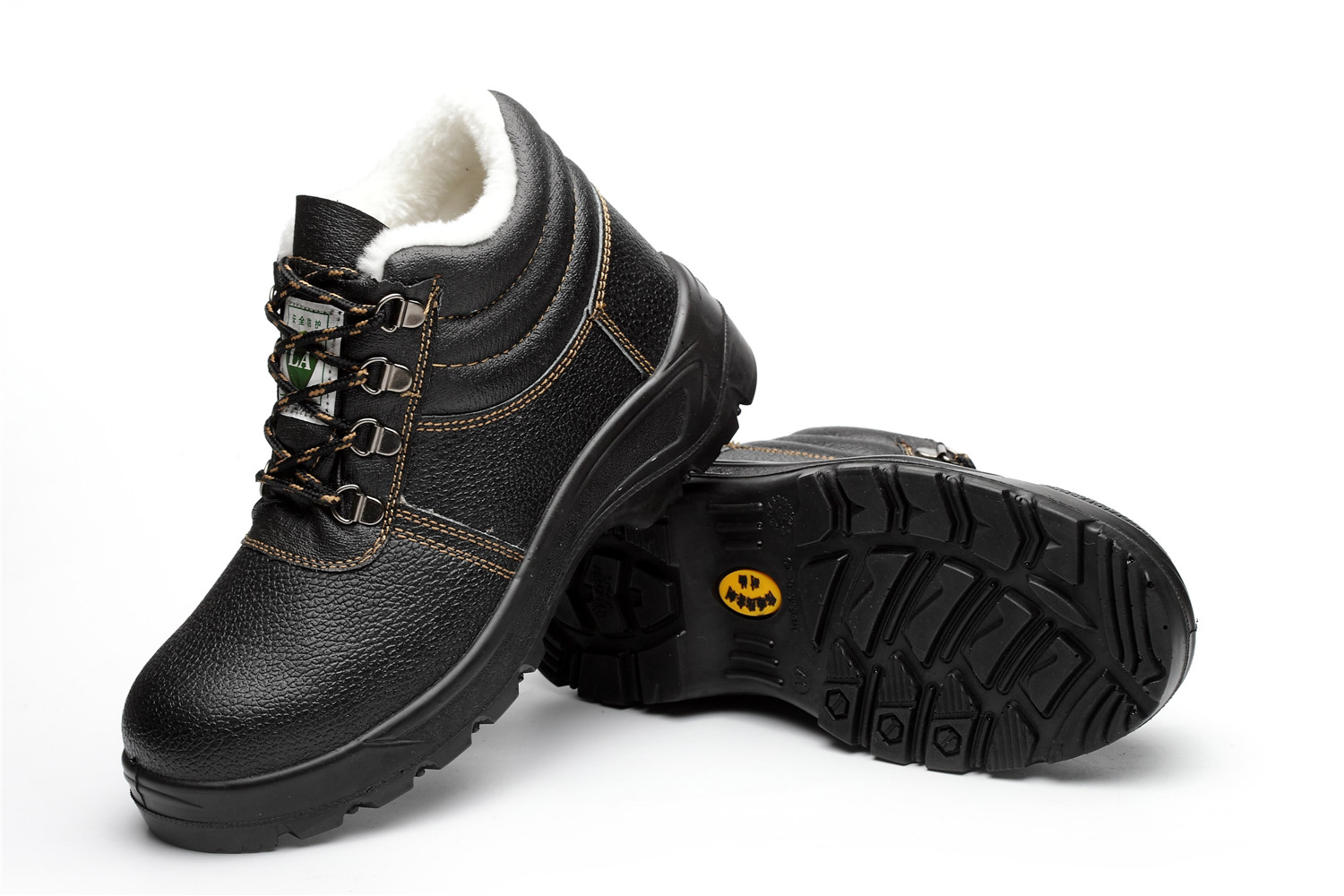 winter black leather cotton high anti-static safety shoes/cattle two layer steel head anti smashing puncture proof shoes