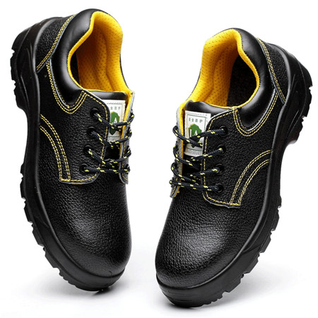 Black leather low antisquashy steel head safety shoes,anti smashing puncture proof shoes