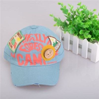 Kid's Blue Color 3D Letters Embroidery Denim Baseball Cap