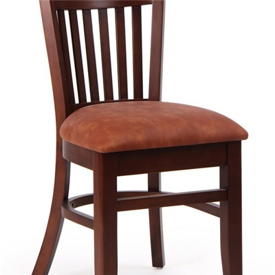 Single Wooden Solid Wood Dining Cafe Chairs With PU Cushion