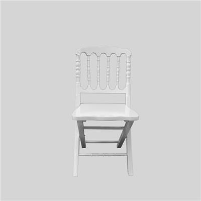 Foldable Wooden White Napoleon Chair With Cushion Seat