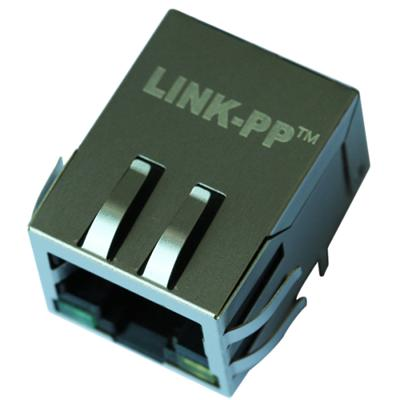 13F-64GYDP2NL Single Port RJ45 Connector with 10/100 Base-T Integrated Magnetics,Green/Yellow LED,Tab Down,RoHS