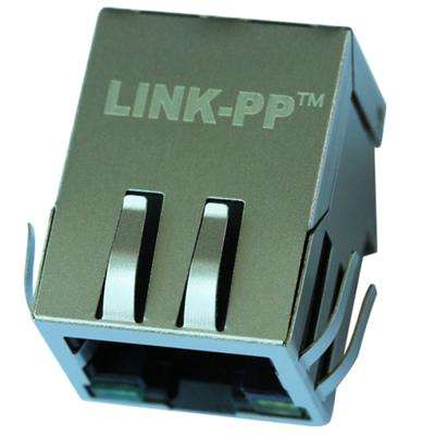 J00-0076 Single Port RJ45 Connector with 10/100 Base-T Integrated Magnetics,Green/Yellow LED,Tab Down,RoHS