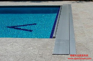 Safety swimming pool cover with track