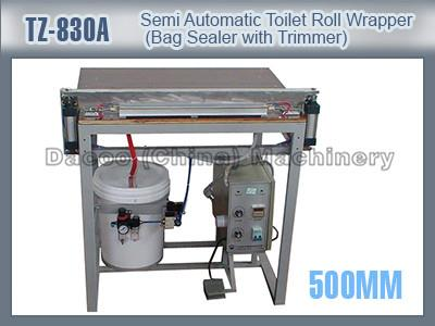 TZ-830A Semi Automatic Toilet Tissue Roll Wrapper Packing Machine Bag Sealer With Trimmer