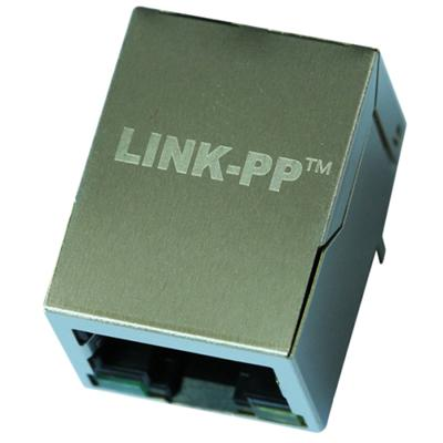 LU1S041F-43 LF(M) Single Port RJ45 Connector with 10/100 Base-T Integrated Magnetics,Green/Yellow LED,Tab Down,RoHS