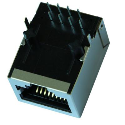 HFJ11-2450E-S1RL Single Port RJ45 Connector with 10/100 Base-T Integrated Magnetics,Without LED,Tab Down,RoHS