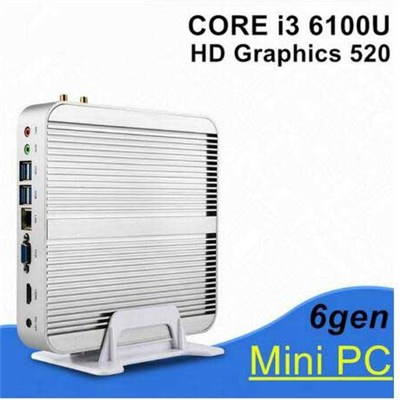 Mini Computer Windows 10 Intel Core I5 6200u  Fanless Barebone Mini PC 4K HTPC HDMI WiFi BT