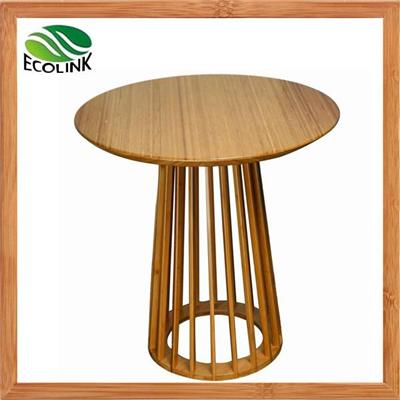 Solid Bamboo Round Tea Side End Bar Table In Natural Color