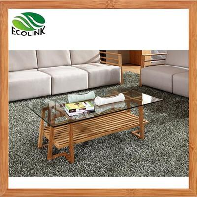 Rectangular Bamboo Coffee Table With Glass Top For Living Room
