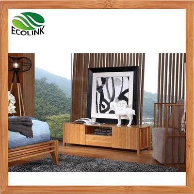 Bamboo Wood Storage TV Media Stand Console Cabinet In Natural Color